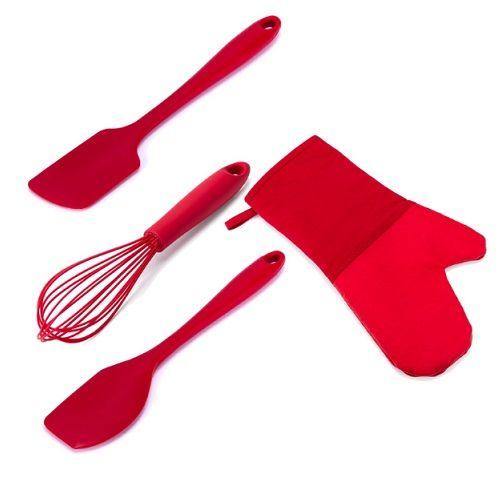 Utensílios Cozinha 4 Peças Silicone WECK Vermelho