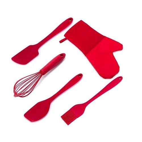 Utensílios Cozinha 5 Peças Silicone WECK -  Vermelho
