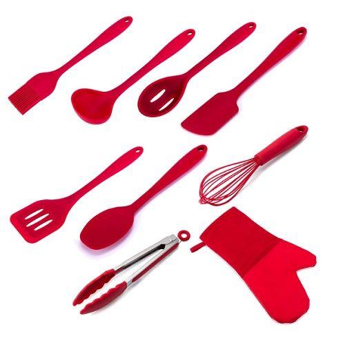 Utensílios Cozinha 9 Peças Silicone WECK - Vermelho