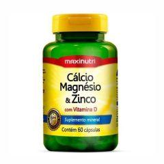 Cálcio, Magnésio e Zinco com Vitamina D - 60 Cápsulas - Maxinutri