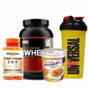 Combo Massa Muscular 2 - 100% Whey Protein - 910g(2lbs) - Optimum + Pasta de Amendoim Integral - 1Kg - Mandubim + Triple Ômega 3-6-9 - 120 Cápsulas - Sundown + Coqueteleira Shaker - 600ml - Universal