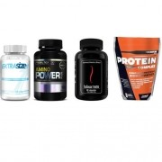 Combo Massa Muscular 7 - Amino Power - 150 Tabletes - Probiótica + Halovar Testo - 60 Cápsulas - Intlab + ProteinComplex Premium - 900g - New Millen + Extrasize - 60 Cápsulas