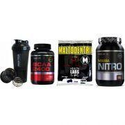 Combo Massa Muscular 9 - Maltodextrin - 1Kg - Health Labs + Massa Nitro - 1,4Kg - Probiótica + BCAA 2400 - 120 Tabletes- Millennium - Probiótica + Coqueteleira Shaker c/ Divisória - 600ml - Probiótica