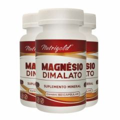 Magnésio Dimalato - 60 Cápsulas - Promoção 3 Unidades - Nutri Gold