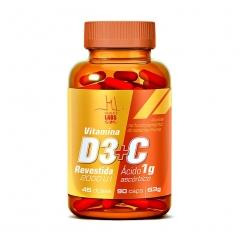 Vitamina D3 2000UI + C 1g - 90 Cápsulas - Health Labs