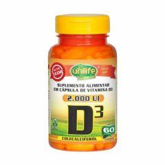 Vitamina D3 (Colecalciferol) - 60 Cápsulas - Unilife