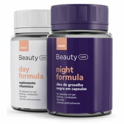 Combo BeautyCaps Day Fórmula e BeautyCaps Night Fórmula