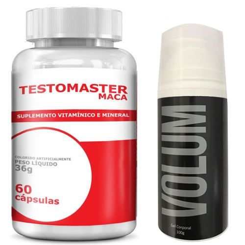 Combo Estimulante Sexual 1 - Testomaster Maca - 60 Cápsulas - Intlab + Volum - 100g