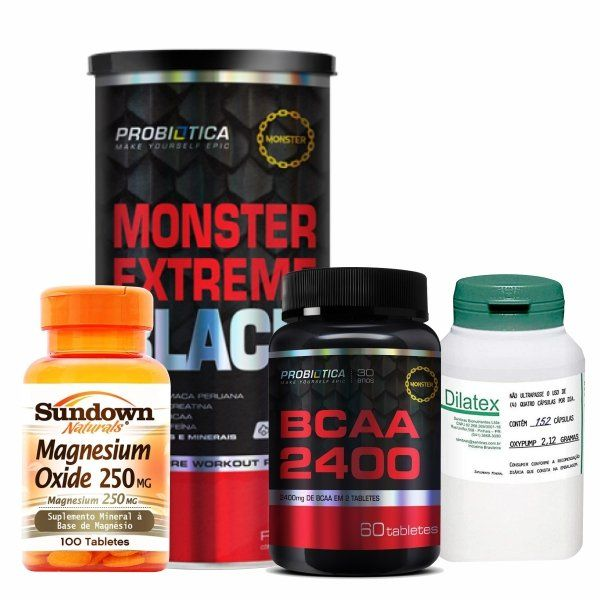 Combo Massa Muscular 10 - Monster Extreme Black - 44 Packs - Probiótica + Dilatex - 152 Cápsulas - Power Supplements + Magnesium Oxide - 100 Tabletes - Sundown + BCAA 2400 - 60 Tabletes - Probiótica