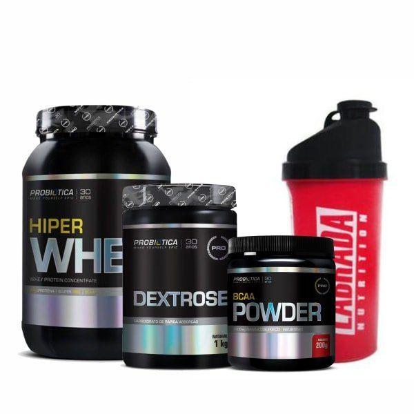 Combo Massa Muscular 1 - Hiper Whey Protein - 900g - Millennium - Probiótica + Dextrose - 1 Kg - Probiótica + BCAA Powder - 200g - Probiótica + Coqueteleira Shaker Mix Boy - 600ml - Labrada Nutrition