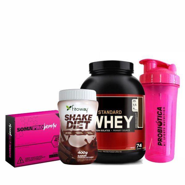 Combo Massa Muscular 4 - Gold Standard 100% Whey Protein - 2,27Kg - Optimum Nutrition + SomaPro Woman - 45 Comprimidos + Shake Diet - 400G - Fitoway + Coqueteleira Shaker Rosa - 700ml - Probiótica