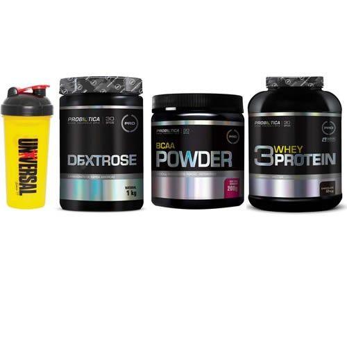 Combo Massa Muscular 6 - Dextrose - 1 Kg - Probiótica + BCAA Powder - 200g - Probiótica + 3W Whey Protein - 2,26Kg - Probiótica + Coqueteleira Shaker - 600ml - Universal