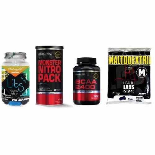 Combo Massa Muscular 8 - BCAA 2400 - 120 Tabletes- Millennium - Probiótica + Libs for Men - 60 Cápsulas - Nutri Gold + Monster Nitro Pack NO2 - 44 Packs - Probiótica + Maltodextrin - 1Kg - Health Labs