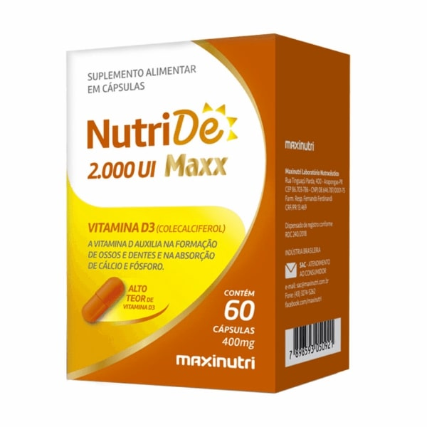 NutriDê Maxx 2000UI - 60 Cápsulas - Maxinutri