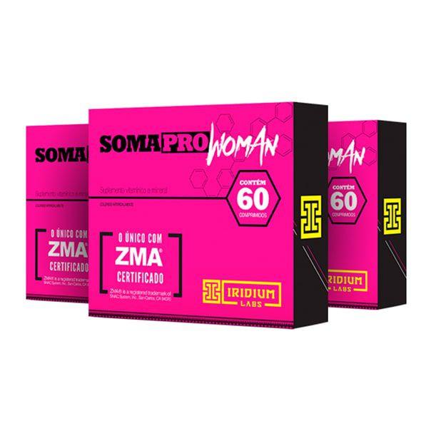 SomaPro Woman ZMA - 60 Comprimidos - Promoção 3 Unidades - Iridium Labs