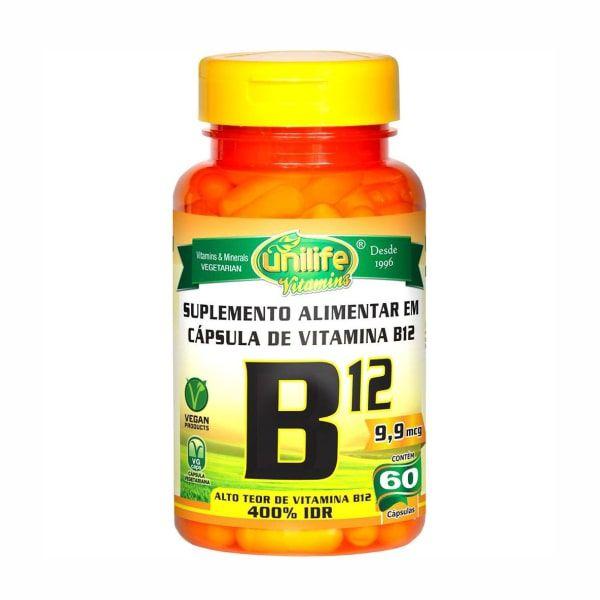 Vitamina B12 (Cianocobalamina) - 60 Cápsulas - Unilife