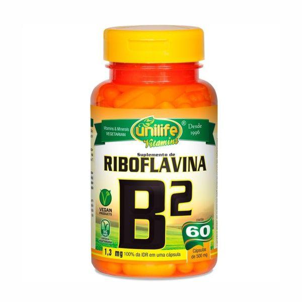 Vitamina B2 (Riboflavina) - 60 Cápsulas - Unilife