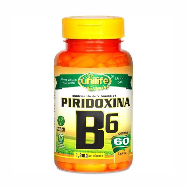 Vitamina B6 (Piridoxina) - 60 Cápsulas - Unilife