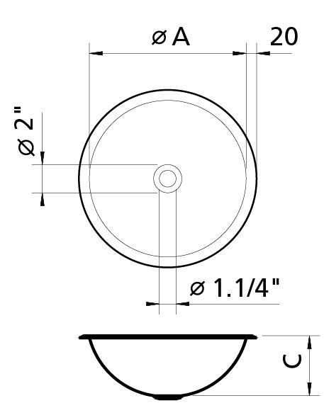 94103/207 Cuba De Encaixe Redonda Para Lavabo 300 x 115mm - Perfecta - Tramontina  - COLAR