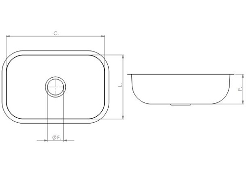 Cuba Retangular 560 x 340 x 180mm - Tecnocuba  - COLAR
