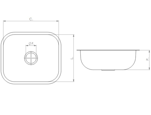Cuba N°0 Retangular Borda Lisa 400 x 340 x 140mm - Tecnocuba  - COLAR