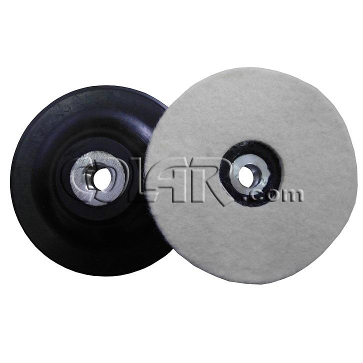 """Suporte Com Feltro Para Polimento 4"""" 100 x 1,0cm Rosca M14  - COLAR"""