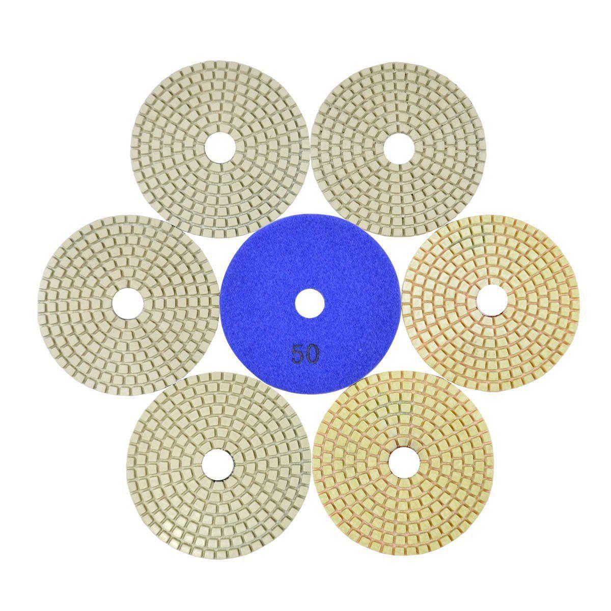 Disco de Polimento Flexível Para Mármores e Granitos Branco 100mm - Colar  - COLAR