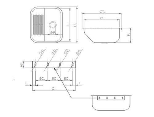 Tanque De Aço Inox Fixação 500x400x22 - Tecnocuba  - COLAR