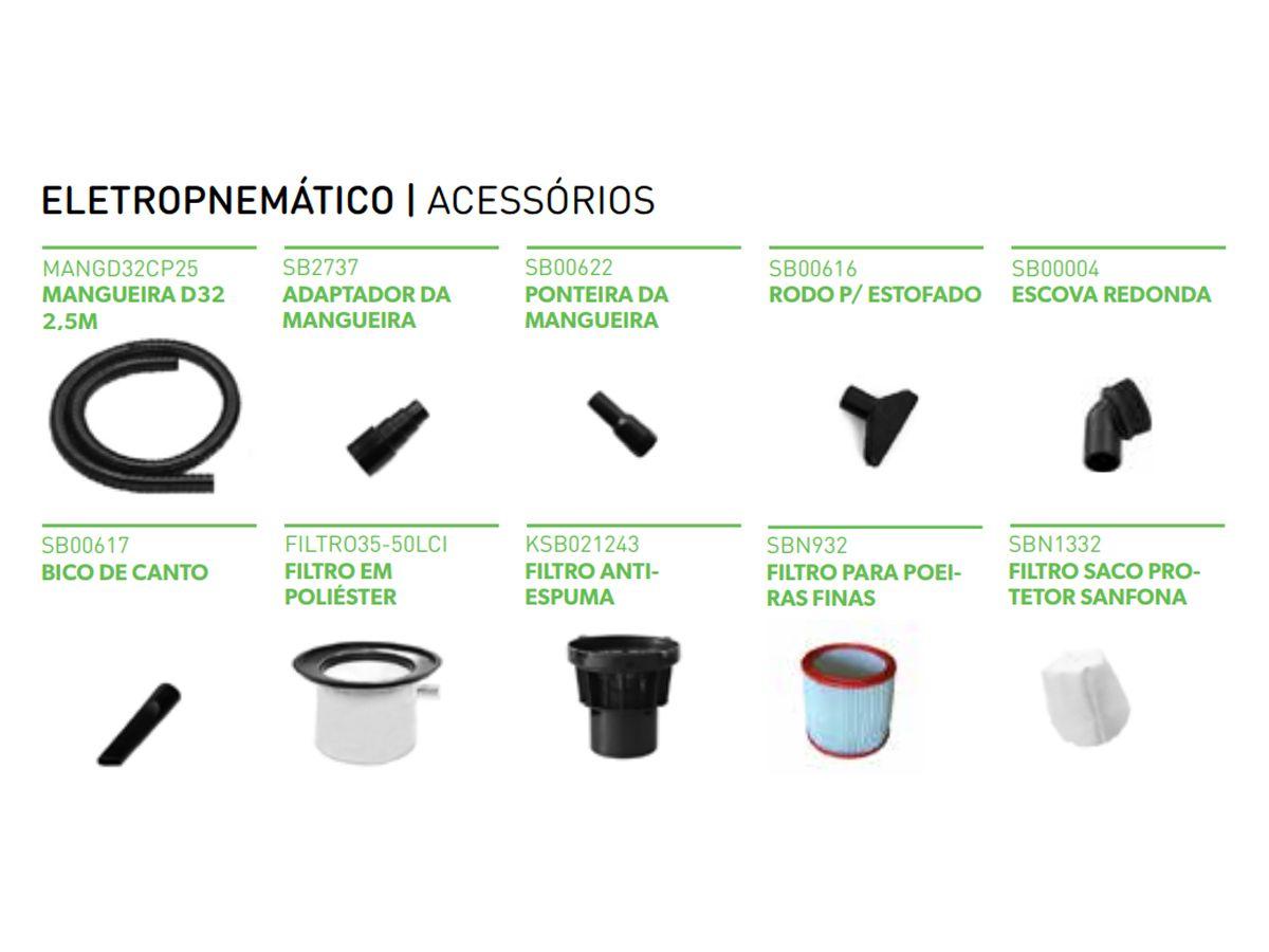Aspirador Eletropneumático Profissional  Pó e Líquido 35 Litros 1400W - IPCBrasil  - COLAR