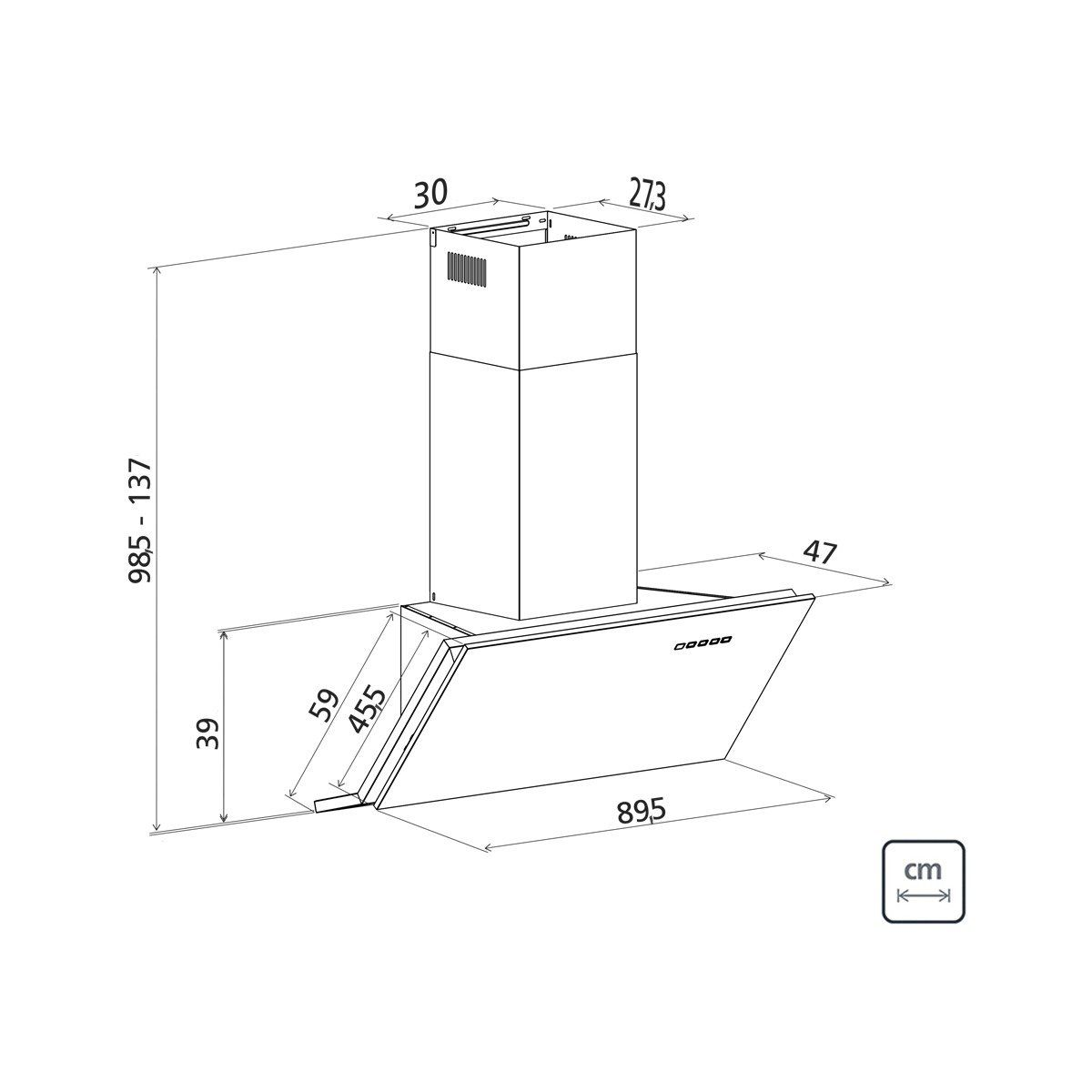 Coifa De Parede Angle IX 90 - Tramontina 94829/022  - COLAR
