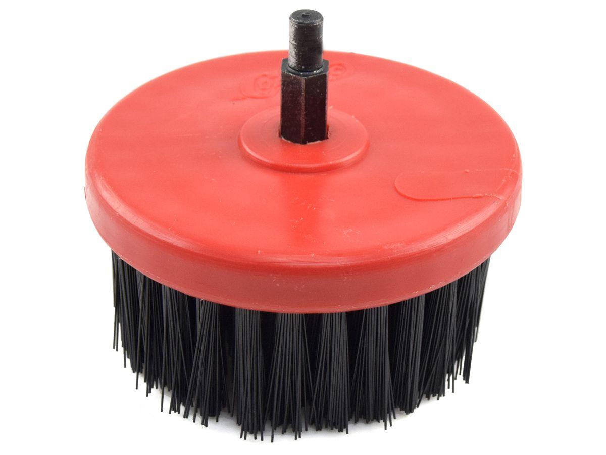 Escova Circular Rotativa Vermelha 100mm Média - COLAR  - COLAR