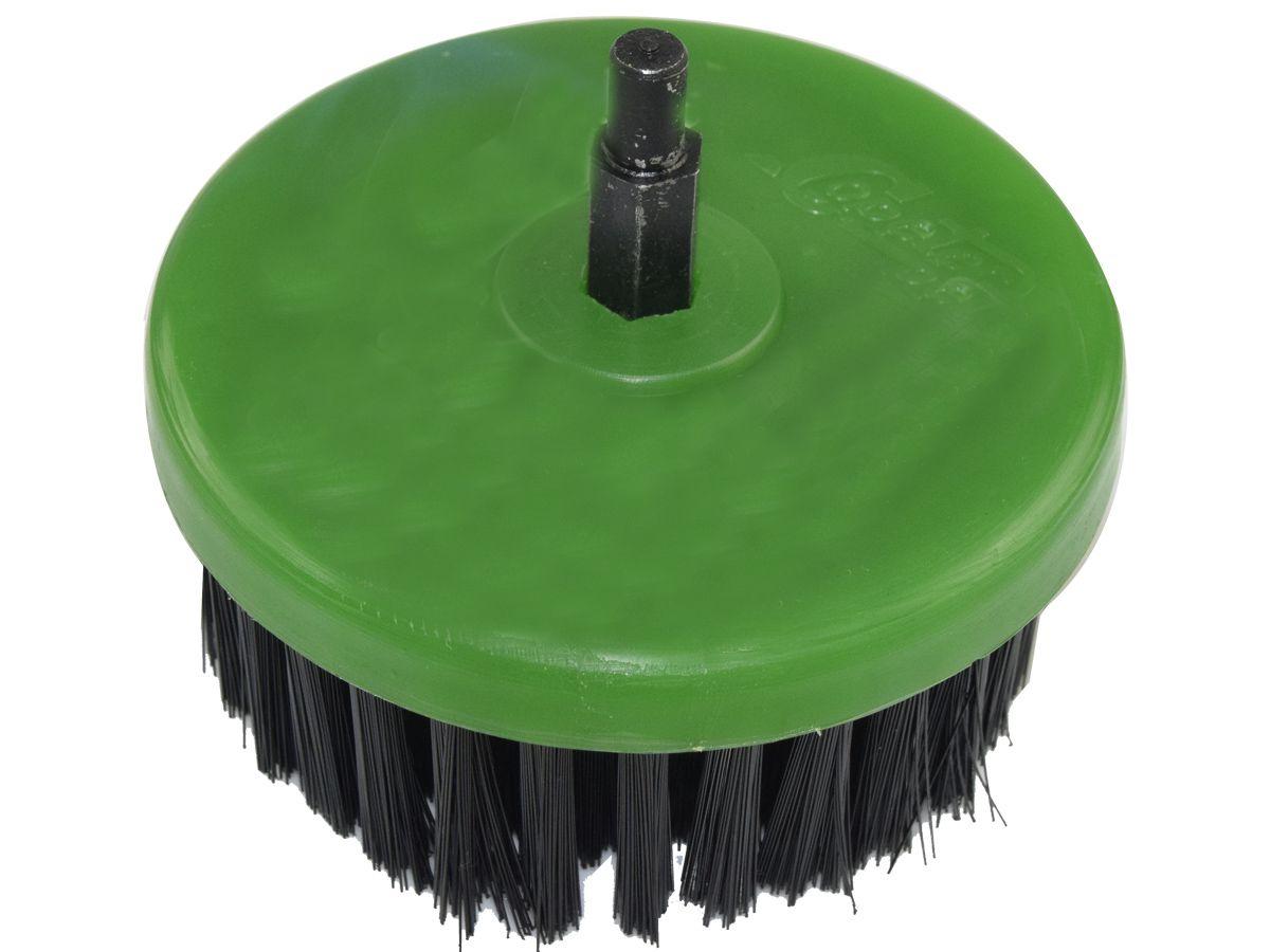 Escova Rotativa Circular Super Macia Verde - 100mm Com eixo - Colar  - COLAR