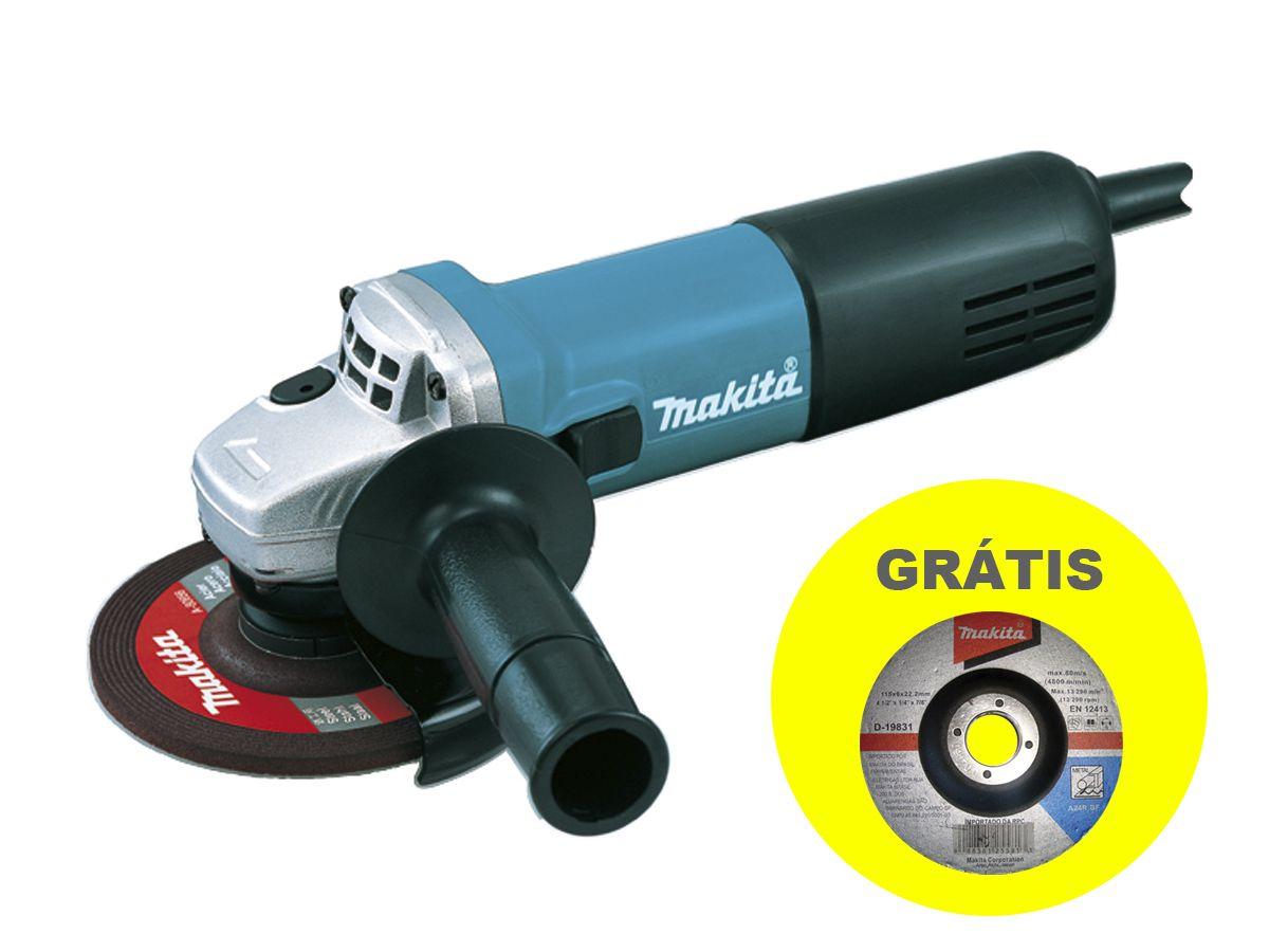 Esmerilhadeira Angular 9557HNG Makita - 115 mm 220V + Grátis 10 discos abrasivos  - COLAR