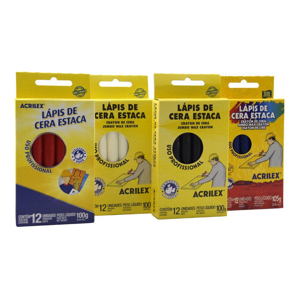 Kit 05 Caixas de Lápis de Cera Estaca Acrilex  - COLAR