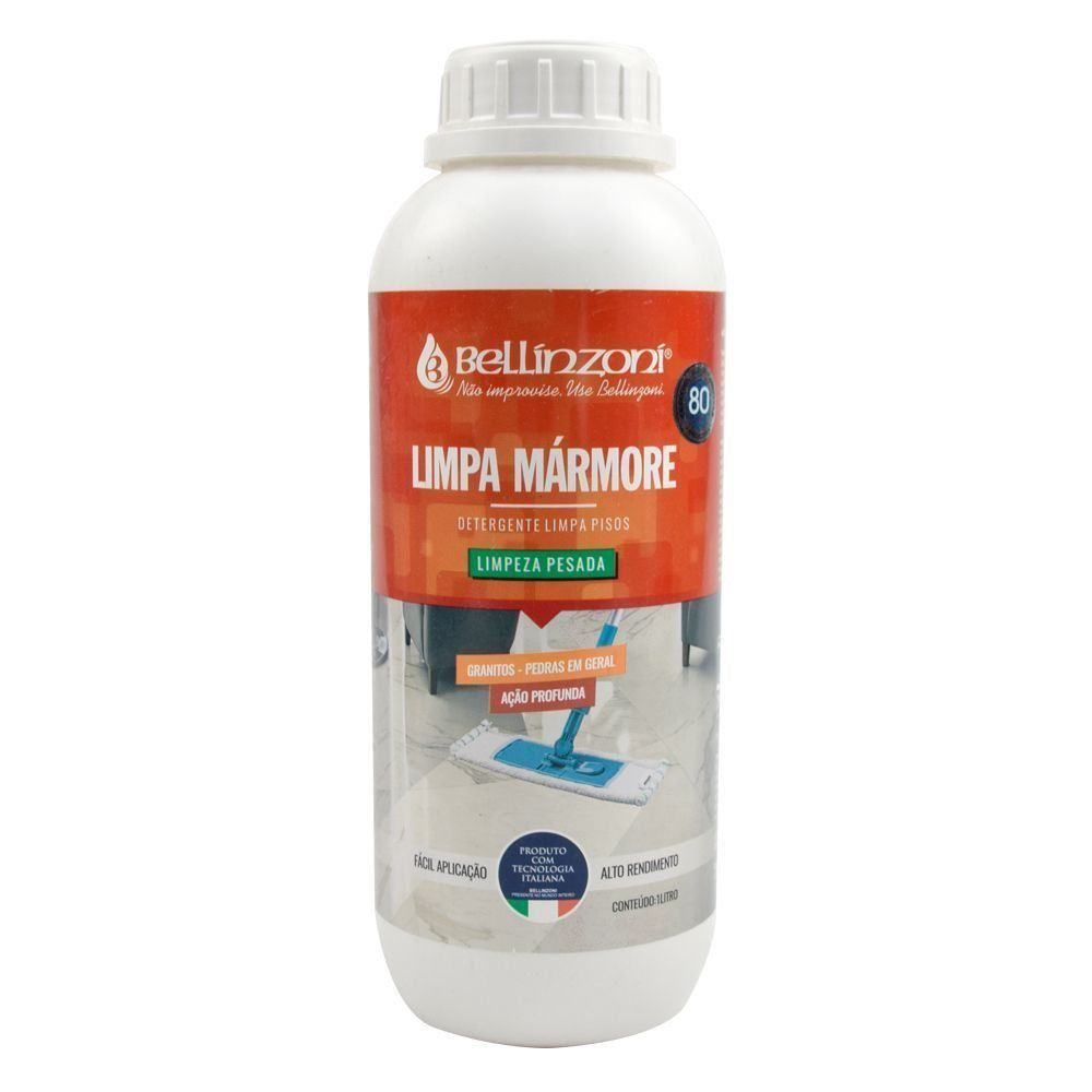 Kit Detergente Alcalino para Limpeza Pesada + Cera Liquida Renovadora de Mármore e Granito - 1L - Bellinzoni  - COLAR