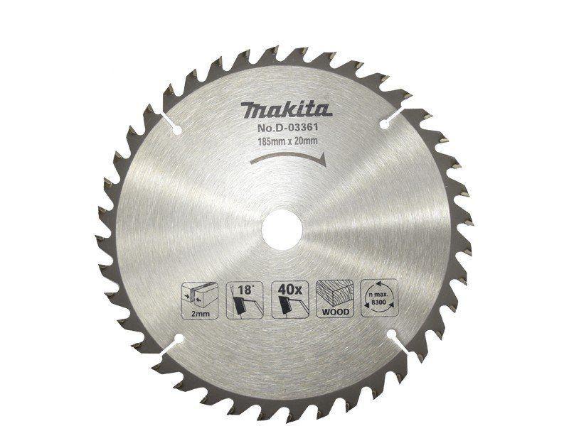 LAMINA DE SERRA PARA MADEIRA TCT MAKITA 185mm X 20mm D03361   - COLAR