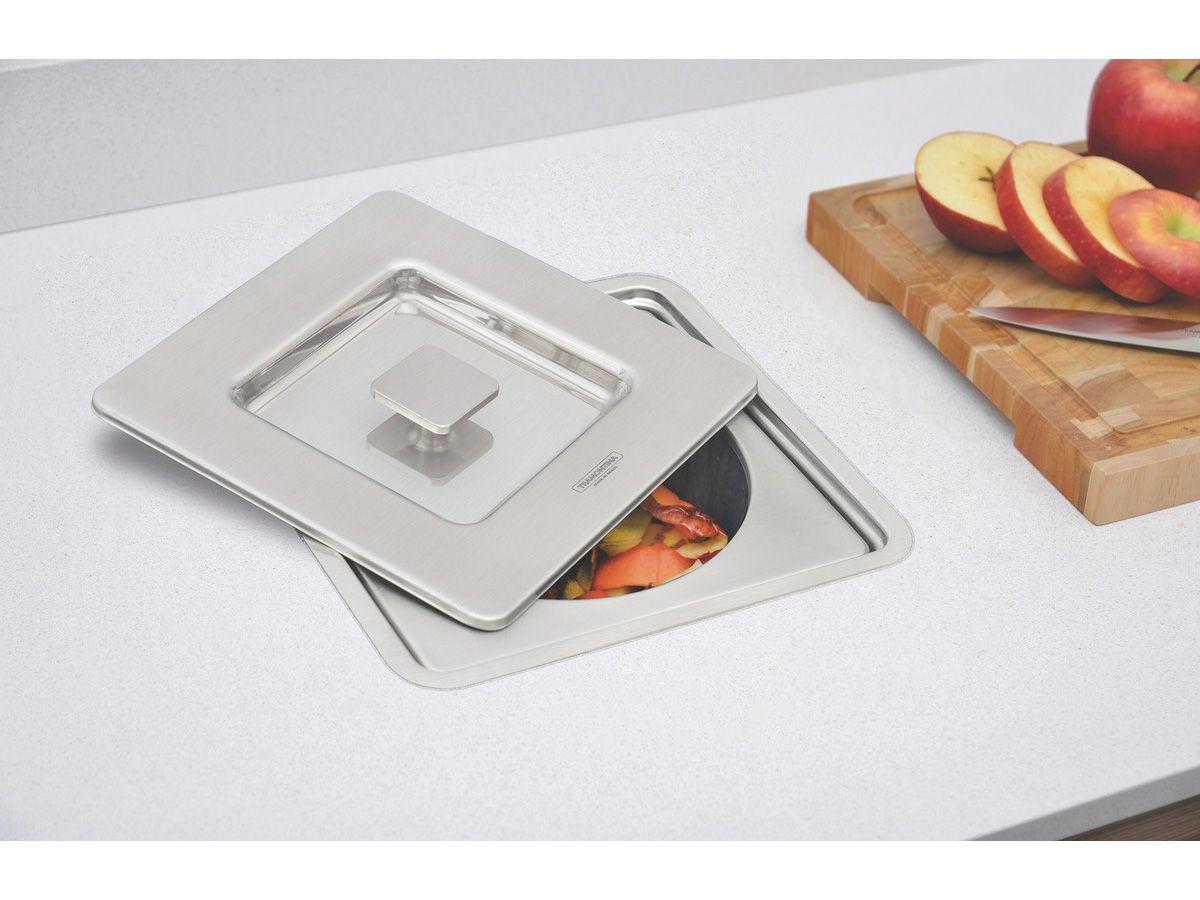 Lixeira de Embutir Clean Square Tramontina - Aço Inox 5L  - COLAR