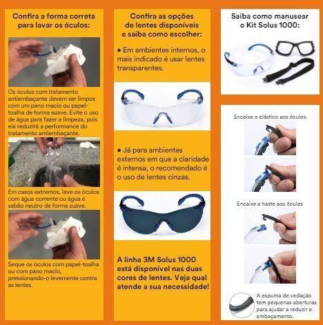 Óculos De Proteção 3M Solos 1000 Lente Cinza  - COLAR