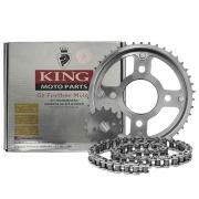 Kit Relação Moto XTZ 125.193 428Hx122L 48T King Moto Parts Aço 1045 com Têmpera