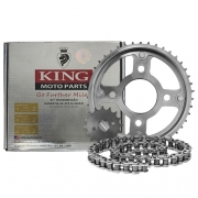 Kit Relação Moto YBR 125.196 428Hx118L 45 King Moto Parts Aço 1045 com Têmpera