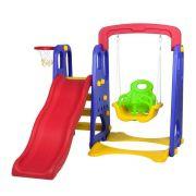 Playground Infantil 3x1 IWPI3X1 (Escorregador, Balanço e Cesta de Basquete)