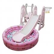 Playground Infantil 4x1 com Piscina de Bolinhas Rosa BWPLP4X1RS (Escorregador, Balanço, Cesta de Basquete)