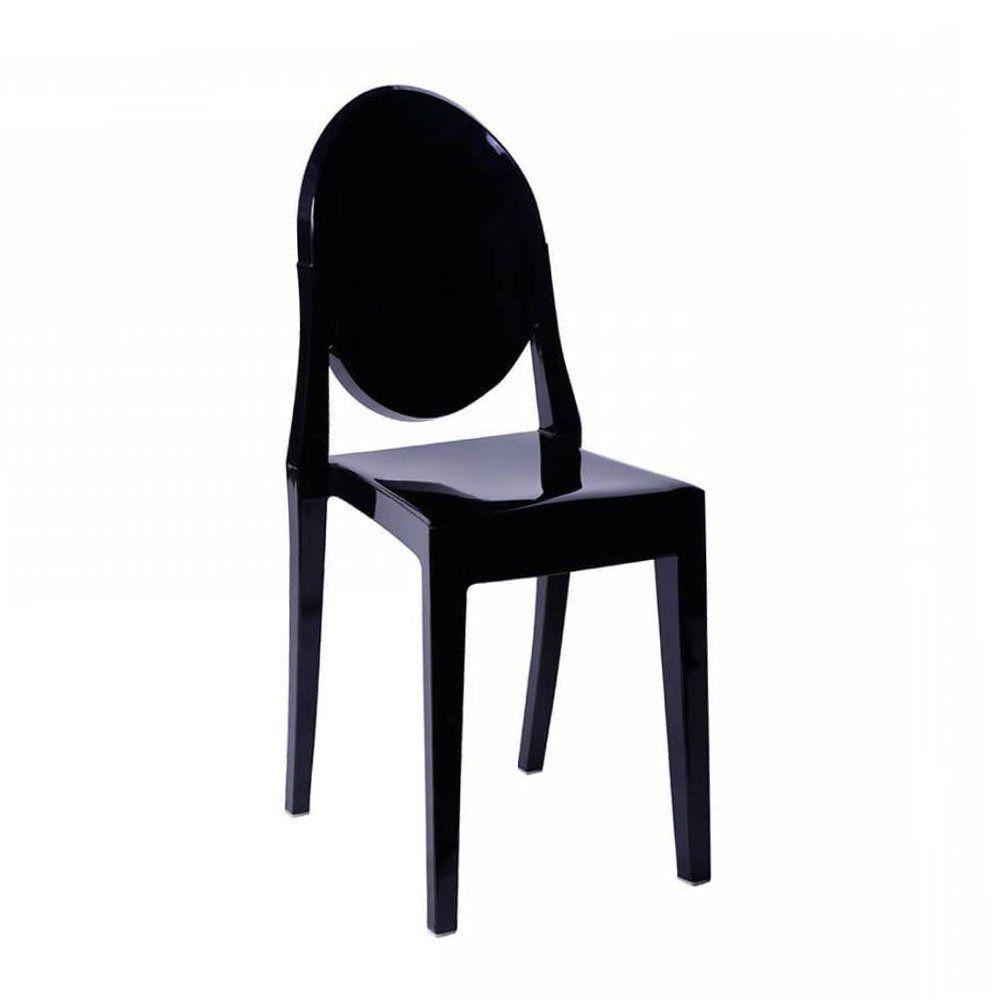 Cadeira Acrílica Transparente Miss Sophia Sem Braço - Preta