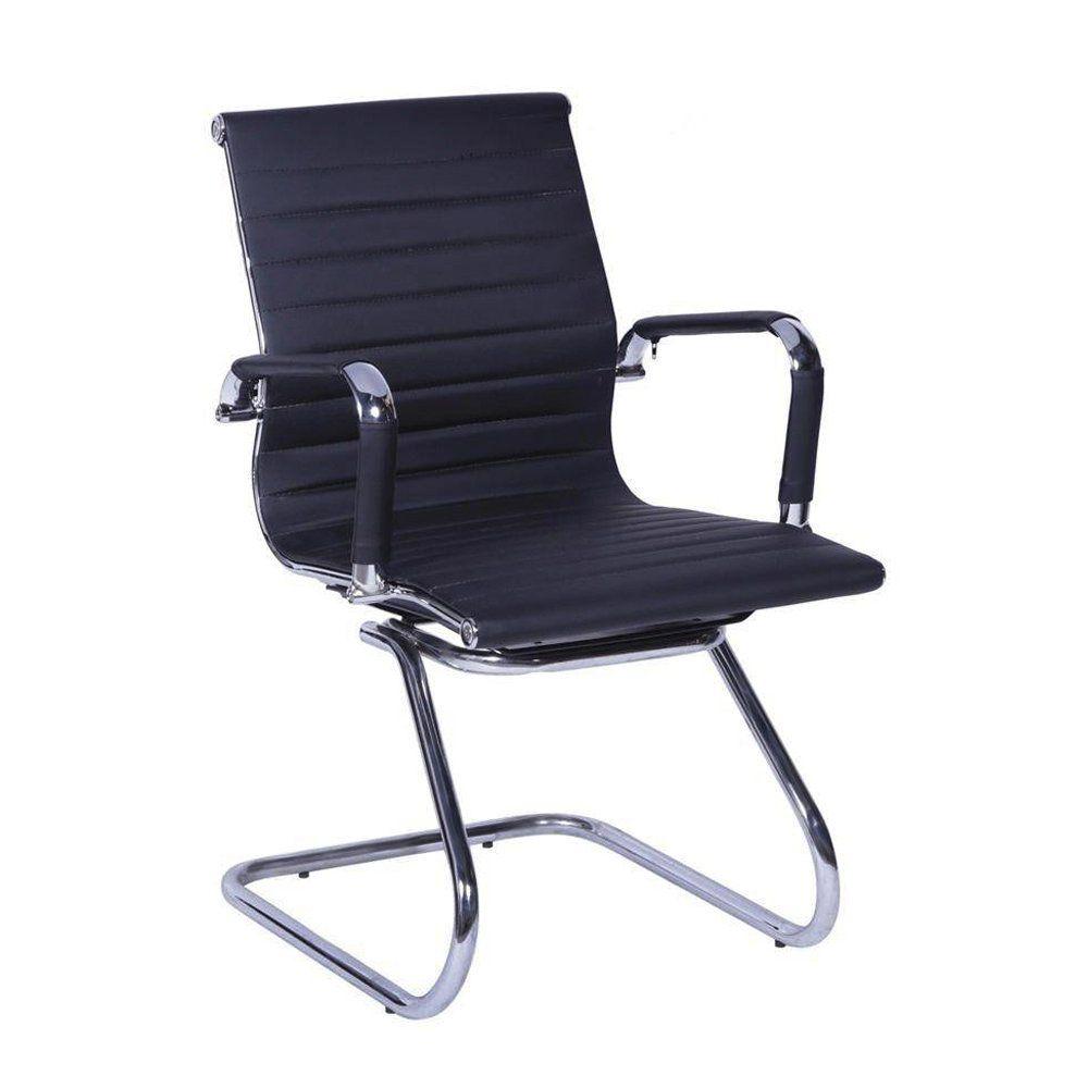 Cadeira De Escritório Esteirinha Eames Fixa - Preta