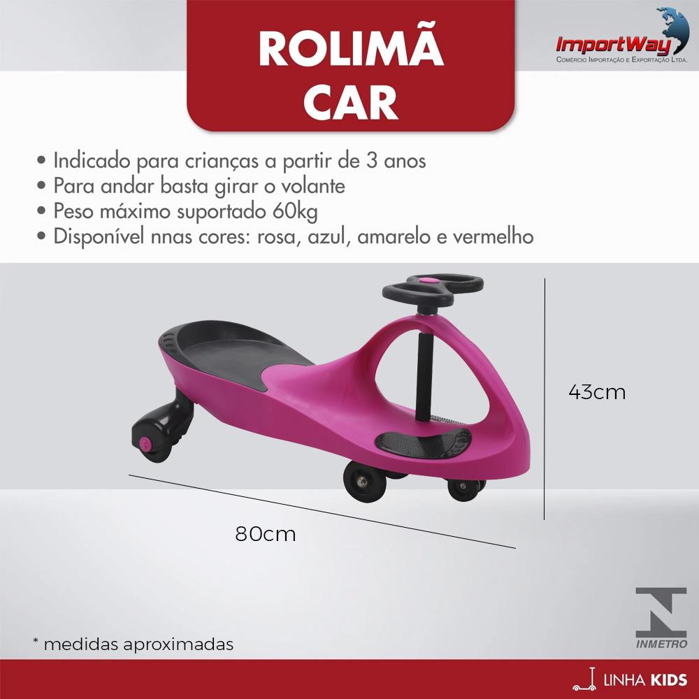 Carro de Rolima Giro Car Carrinho Infantil Gira Gira BW004R Importway - Rosa