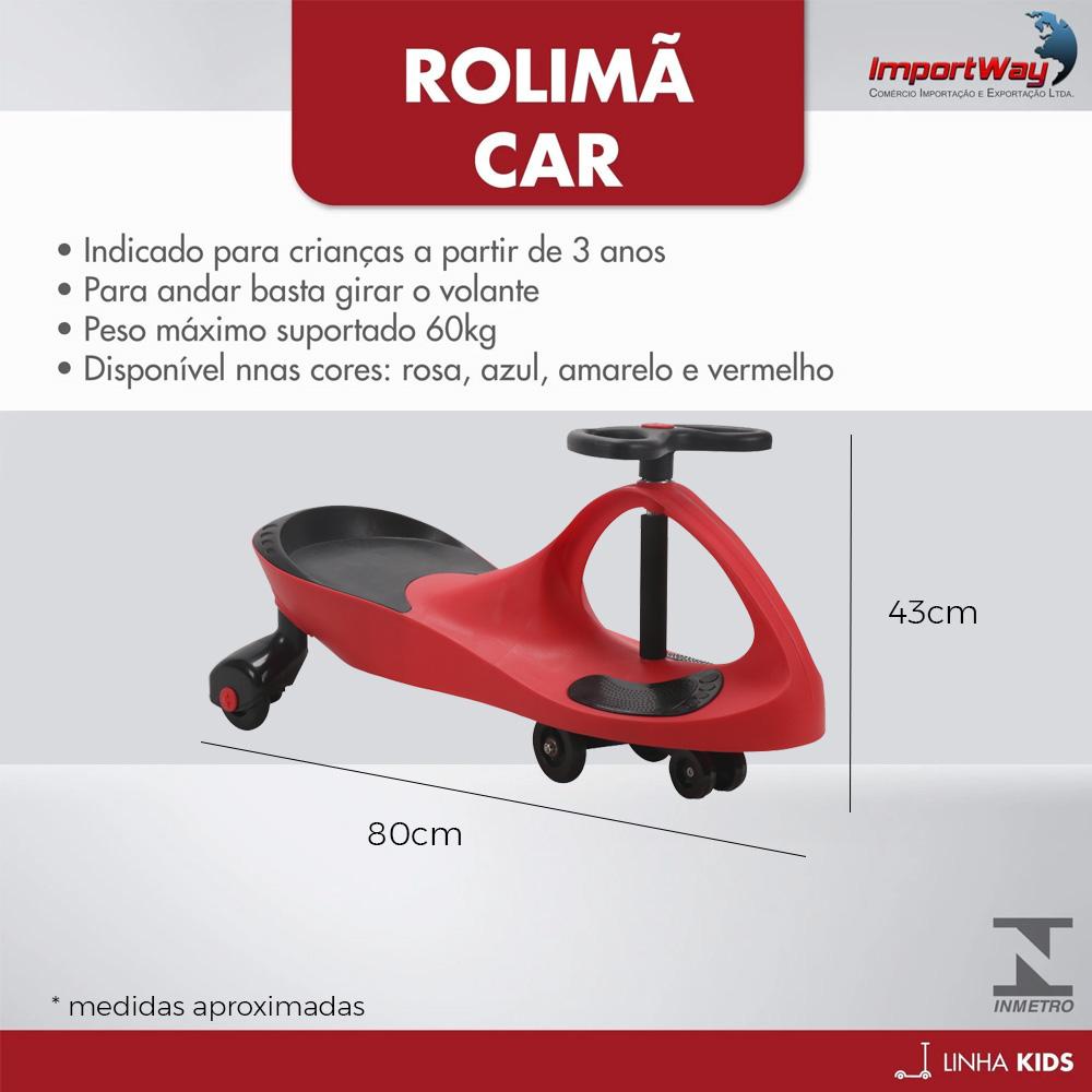 Carro de Rolima Giro Car Carrinho Infantil Gira Gira BW004V Importway - Vermelho