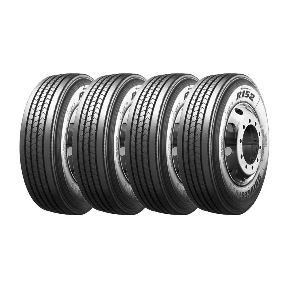 Combo com 4 Pneus 295/80R22,5 Bridgestone R152 Liso 152/148M 16 Lonas