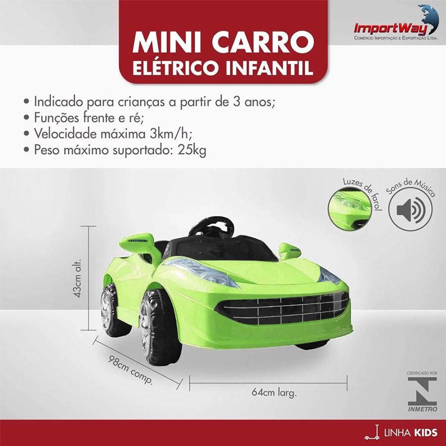 Mini Carro Elétrico 6V BW005VD - Verde (Modelo Ferrari)