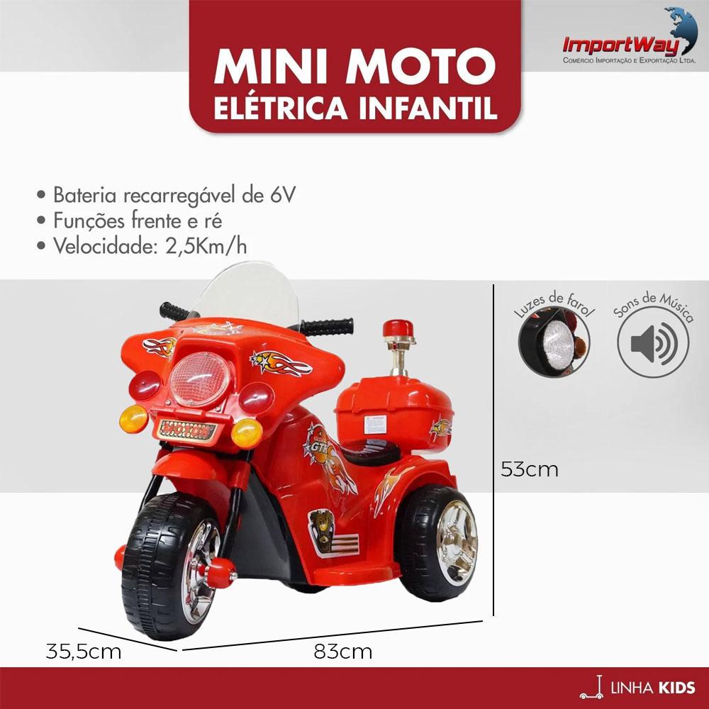 Mini Moto Elétrica Police 6V BW006VM - Vermelha
