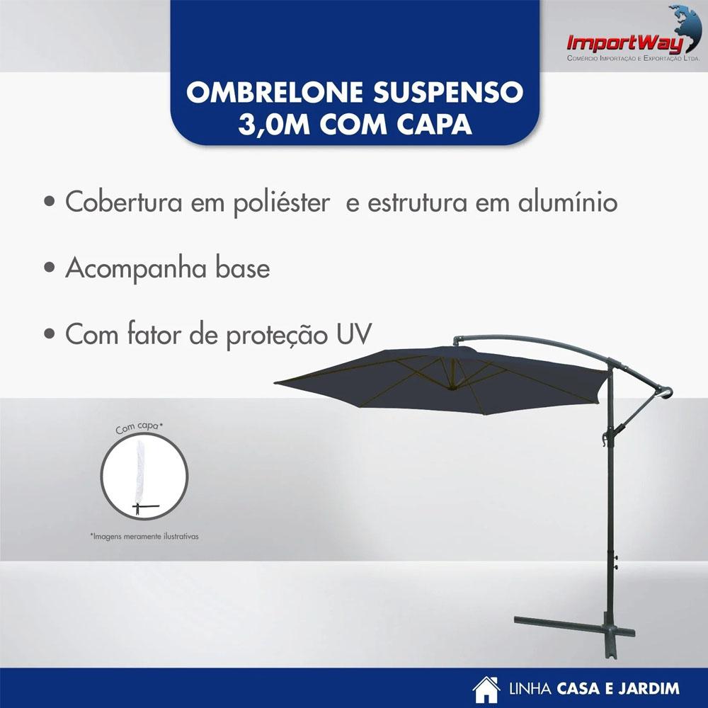 Ombrelone Suspenso 3m Importway Branco com Capa IWOBLC300BR
